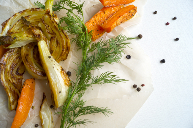 Roasted fennel and carrots