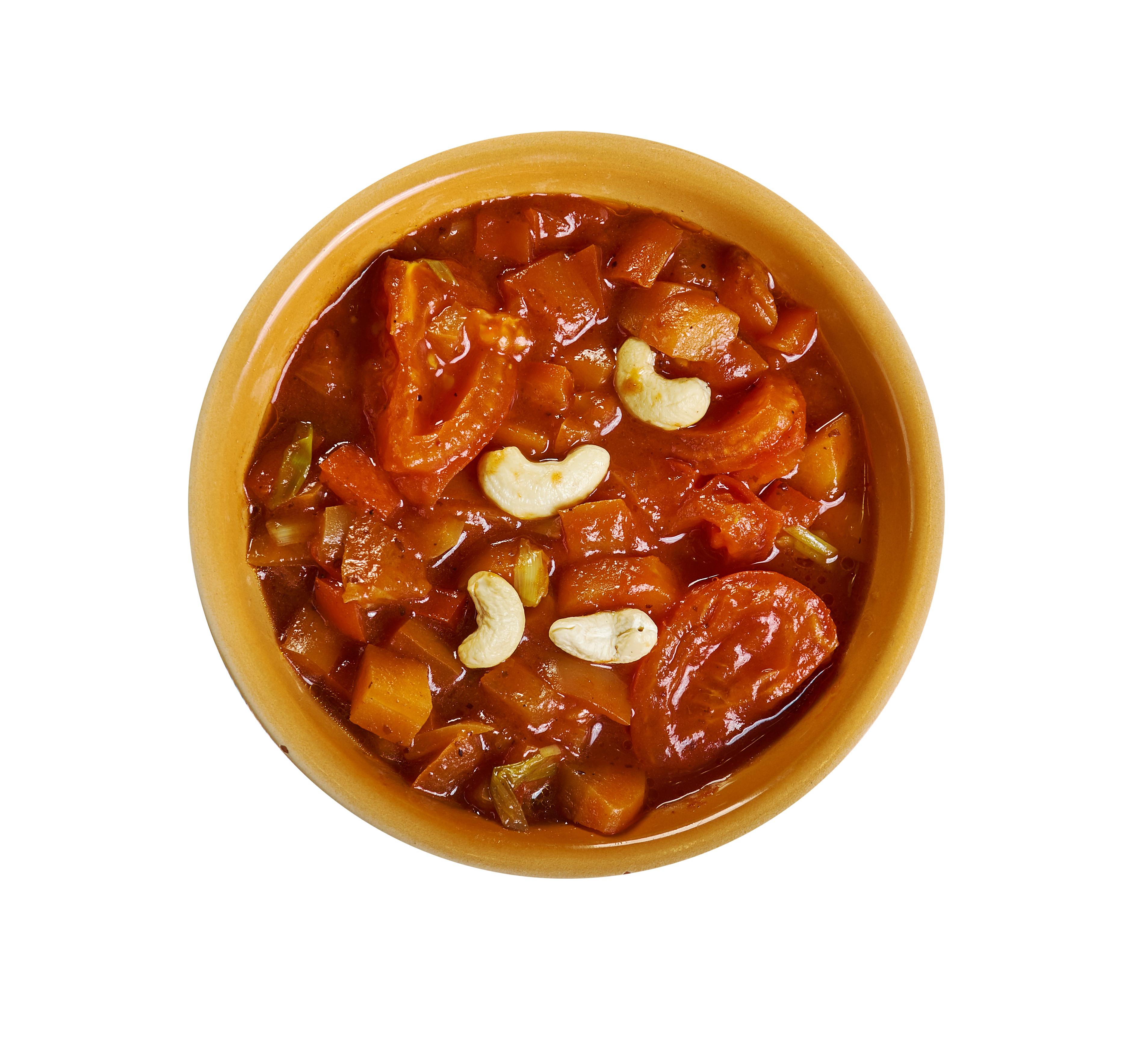 Matbucha garnished with cashew nuts