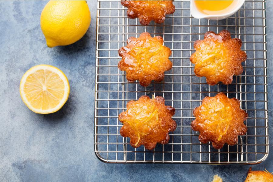 Lemon Muffins left to cool on cake rack