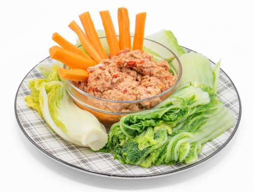 tuna salad with carrots and vegetables