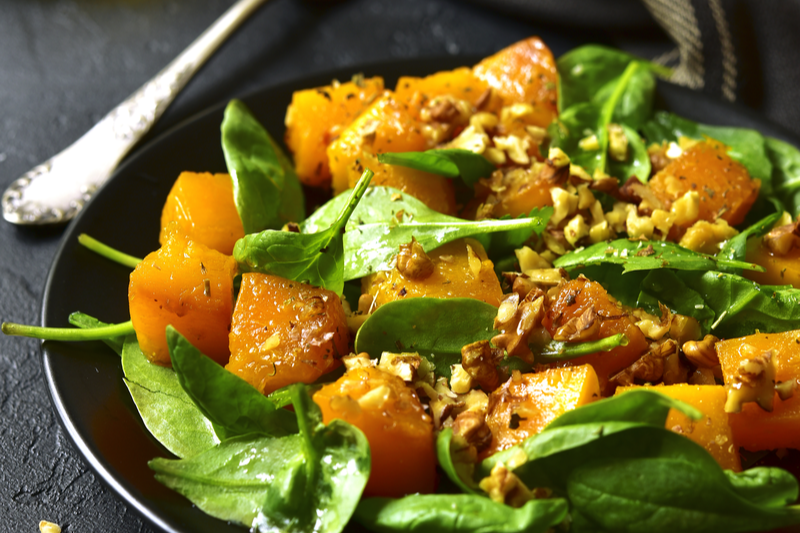 butternut squash and spinach salad