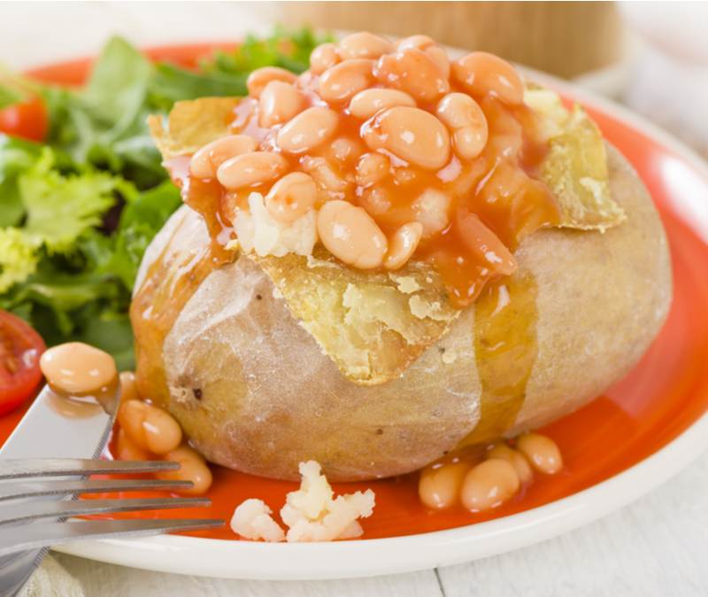 baked potato with baked beans