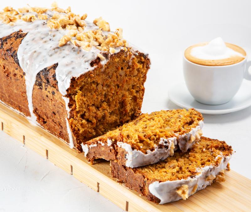 carrot cake loaf cake with lemon glaze