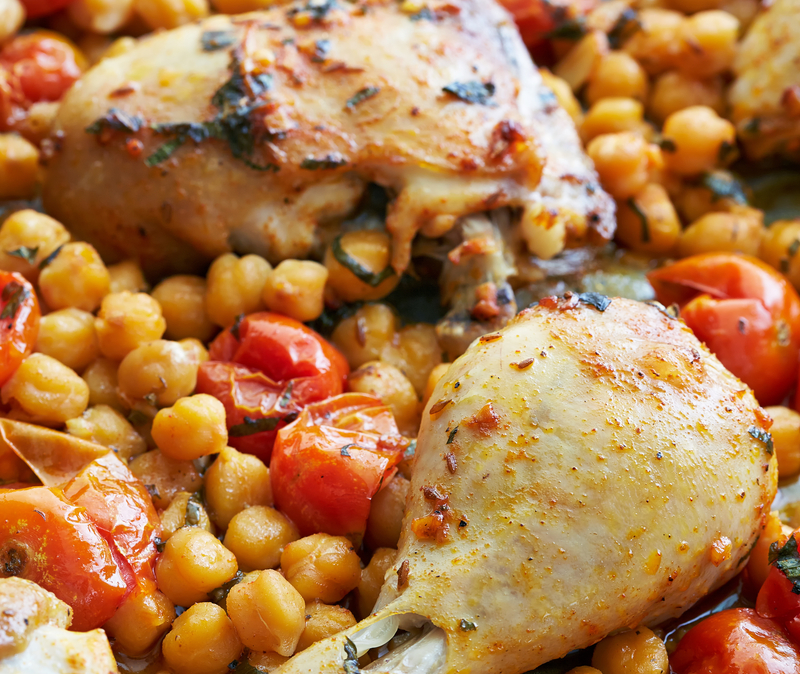 chicken with tomatoes and chickpeas
