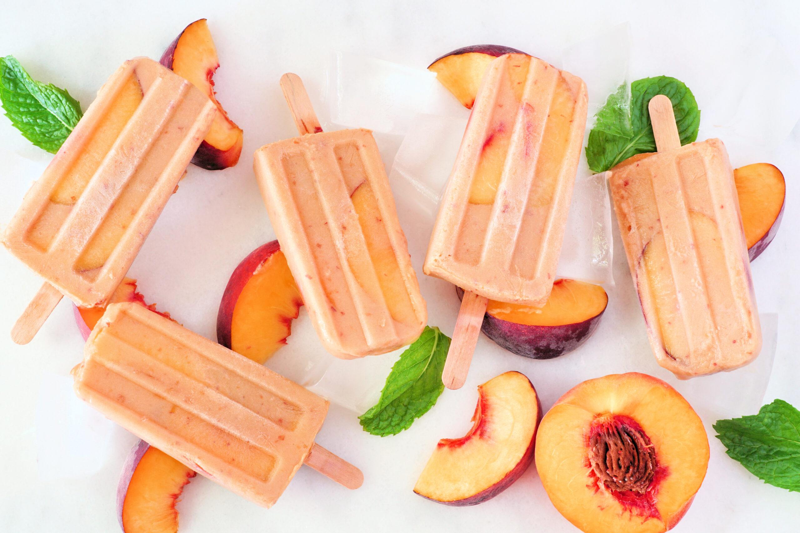 Peaches and cream ice pops