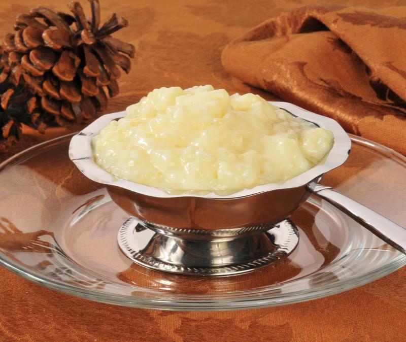 tapioca pudding in silver dish