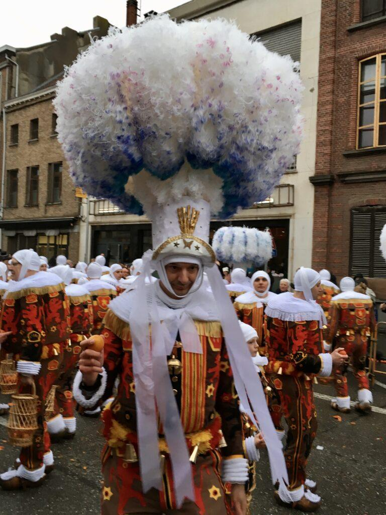 Gilles with plumed hat in Binche carnival