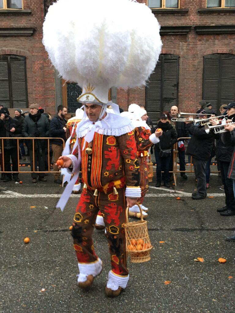 Gille with plumed hat in Binche carnival