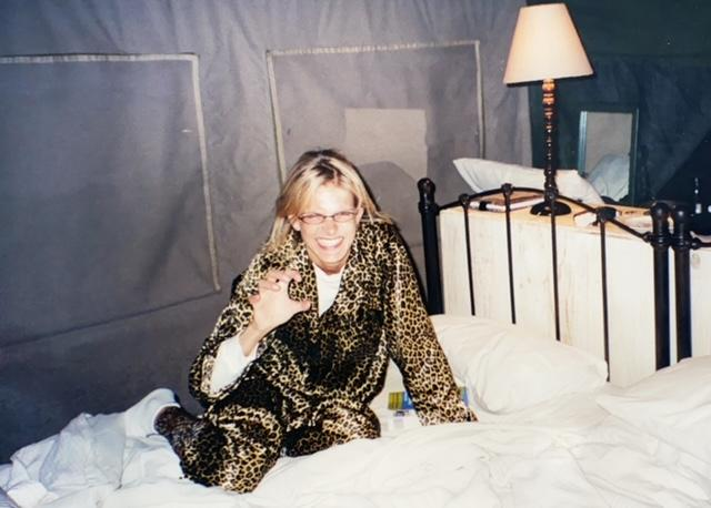 Me in leopard PJs at bushcamp in South Africa