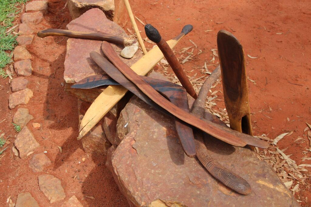 Collection of boomerangs in Australian outback