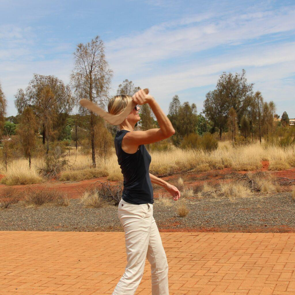 Boomerang throwing in Australian outback