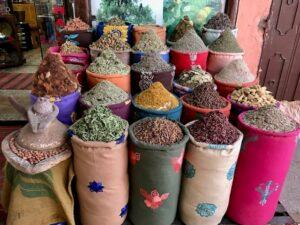 Spice sacks in Marrakech, Morocco