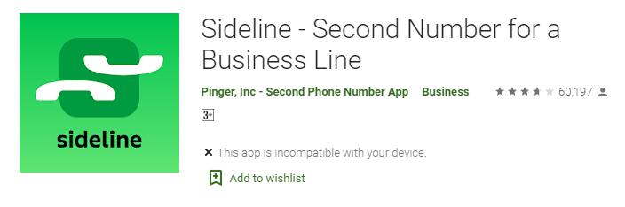 Sideline app for virtual number