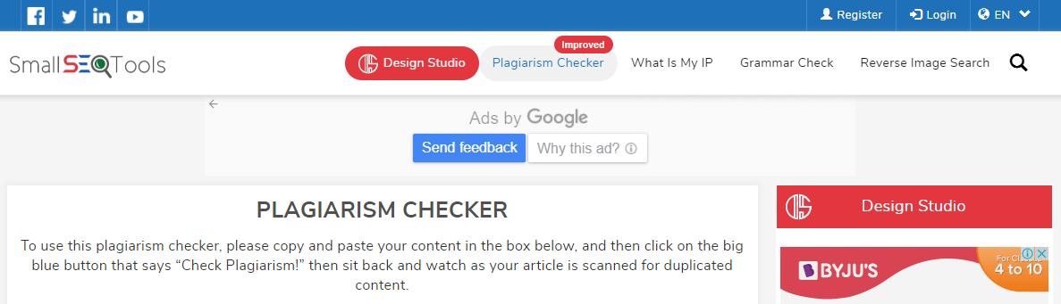 Small SEO Tools Plagiarism Checker
