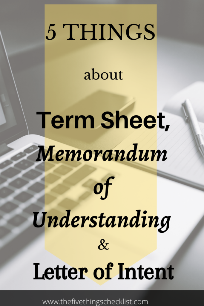 term sheet MoU LoI