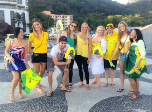 Australian mates sporting green and gold on Copacabana beach