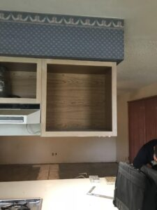Before: old kitchen cabinetry