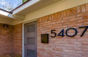 After - new front door, house numbers, mailbox