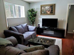 View of the living room in deluxe 2-bedroom suite