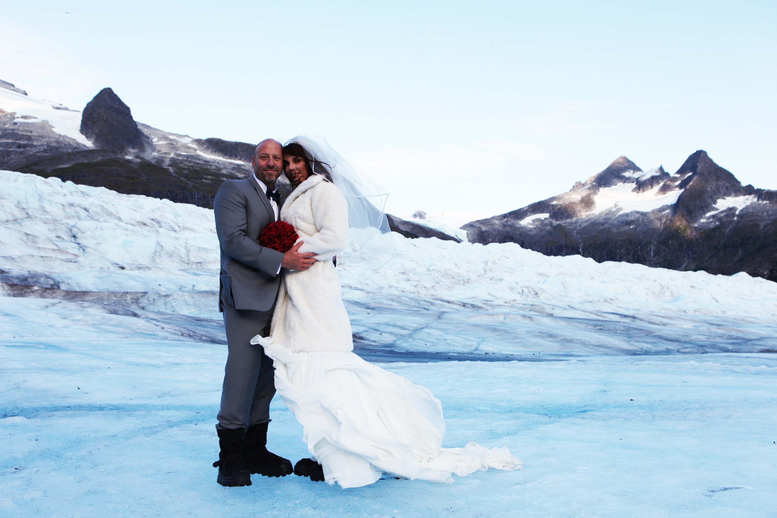Photo of couple getting married on Mendenhall Glacier.