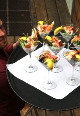 Trayof catered crab cocktails