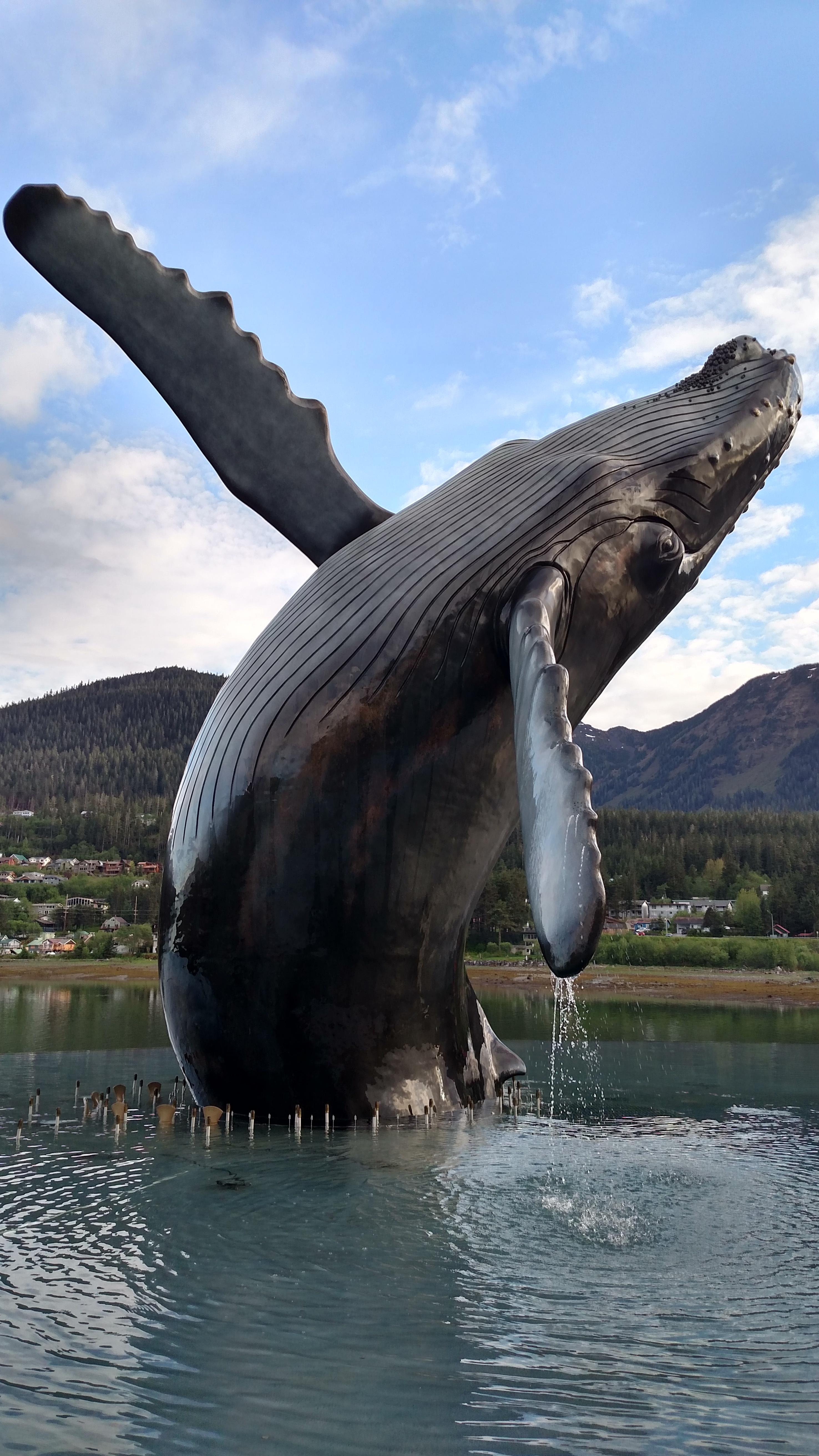 Close-up photo of Juneau's Humpback Whale Statue.