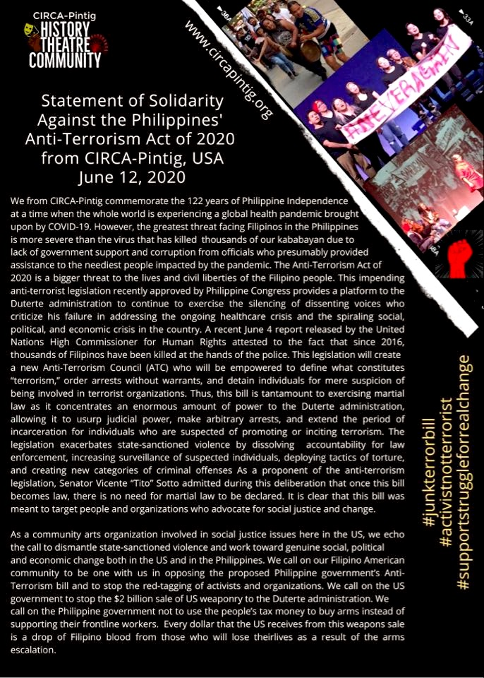 CIRCA-Pintig Statement of Solidarity against the Philippines' Anti-Terrorism Act of 2020