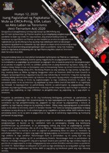 Tagalog version of anti-terror bill statement