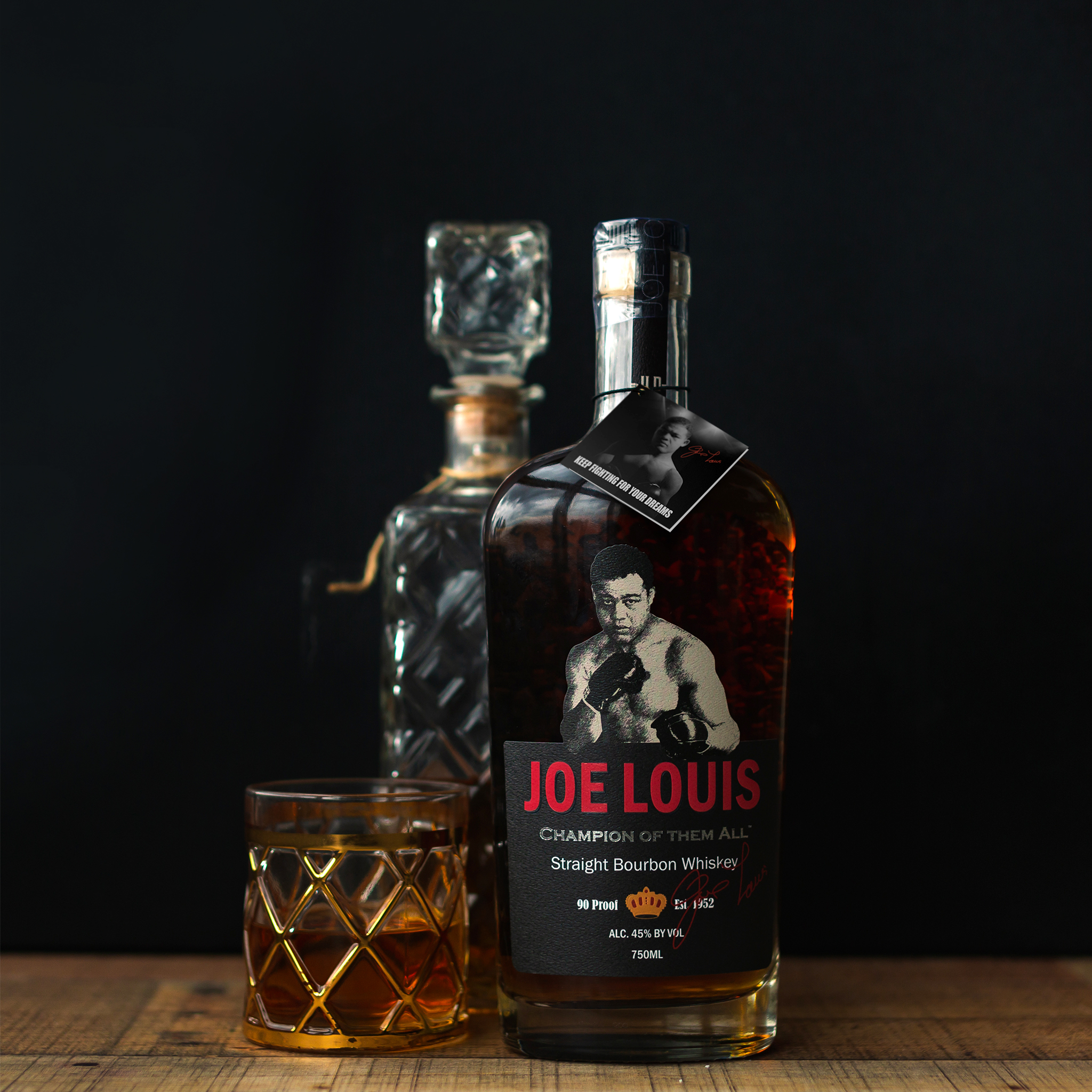 Joe Louis Bourbon Champion of them all - bottle, black background
