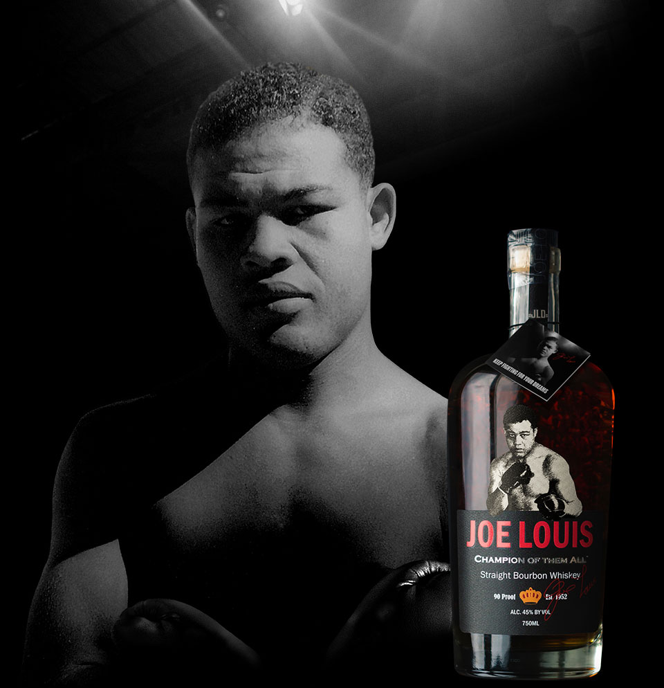 Joe Louis Bourbon - Joe Louis, world heavyweight champion, Joe Louis Bourbon Champion of them all bottle, boxing stadium lights, black background.