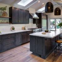 DuraSupreme Contemporary White Kitchen with Dark Cabinets