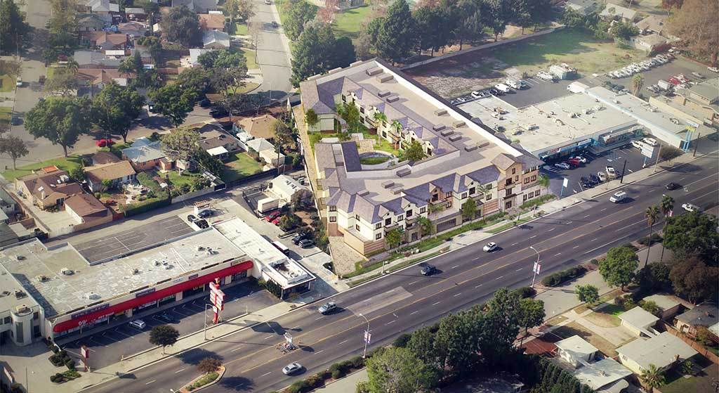 Aerial image of 14640 Whitier Blvd.