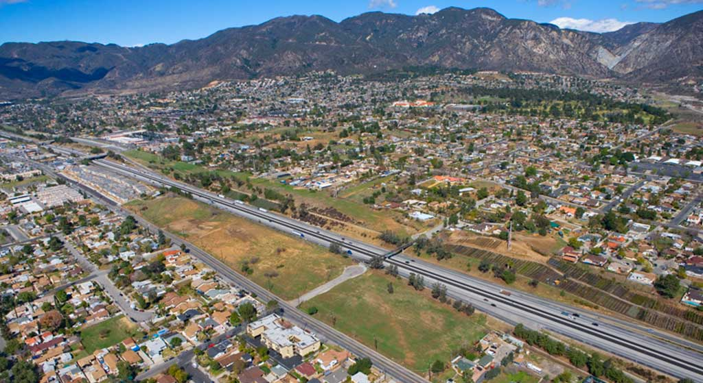 Aerial image of 13267 Foothill Blvd.