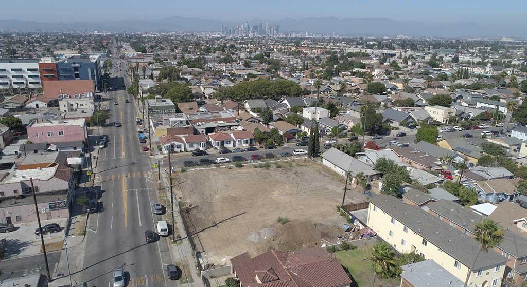 Aerial image of 6100 Hoover Street.