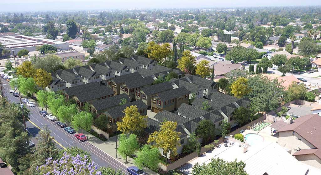 Aerial image of 9761 Vesper Avenue.