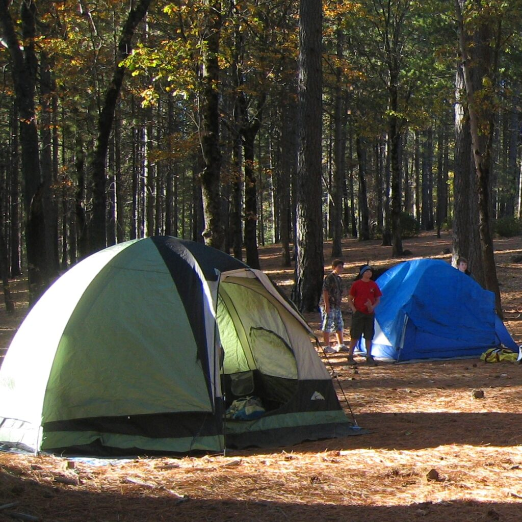 Image of camping tents and scouts at Boggs Mountain Demonstration State Forest