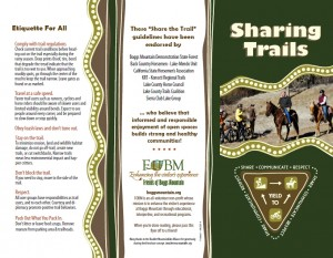 Image of Sharing Trails Etiquette brochure for Friends of Boggs Mountain