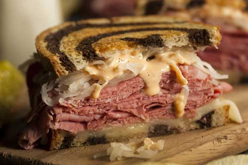 Reuben sandwich on rye