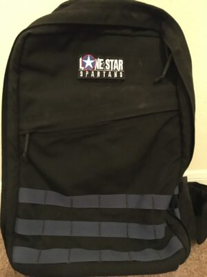 Lone Star Spartans Black Logo Patch on a Ruck