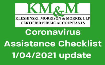 Coronavirus Assistance Checklist, Jan. 4 update