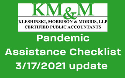 Pandemic Assistance Checklist update, March 17, 2021