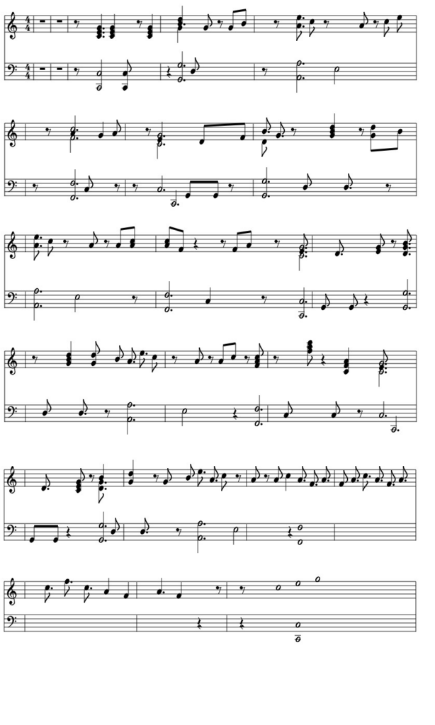 Sheet music representing what I was able to play from learning piano with chords.