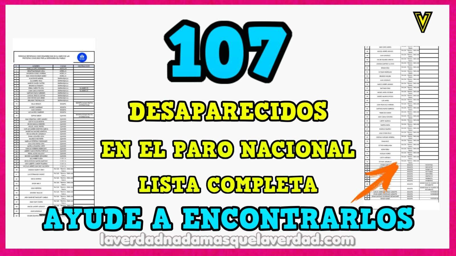 107 DESAPARECIDOS EN COLOMBIA
