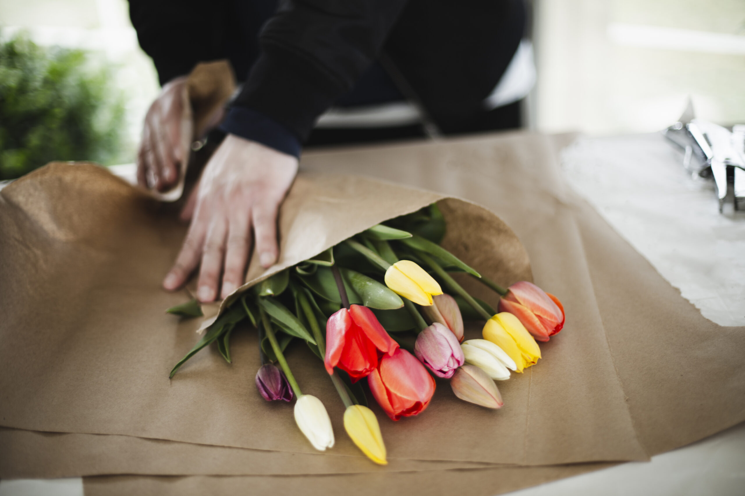 Bunch of rainbow tulips in brown paper wrap