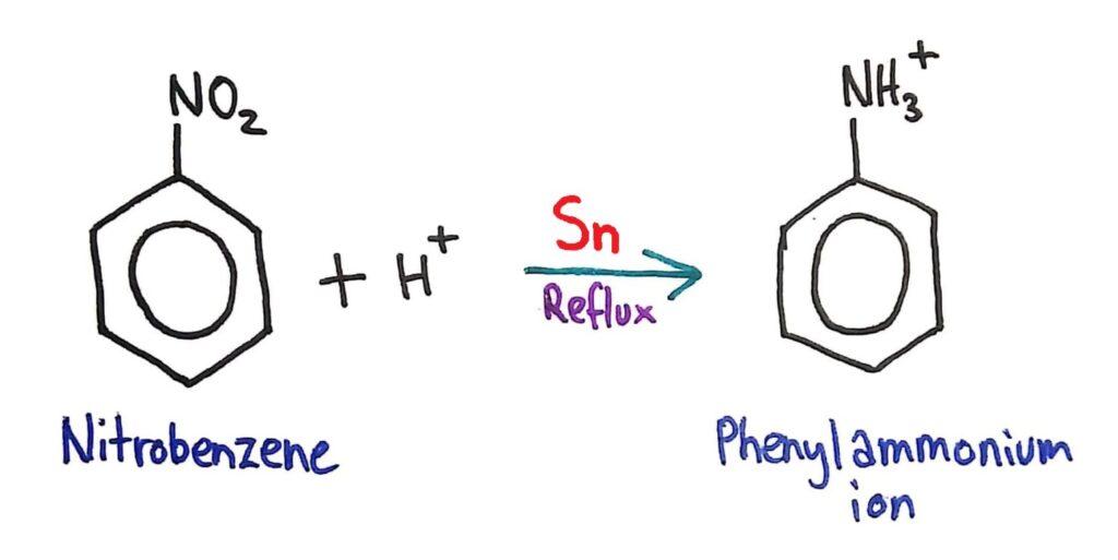 Nitrobenzene -> phenylammonium ion