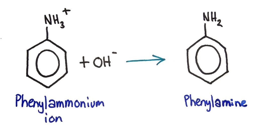 Phenylammonium -> phenylamine
