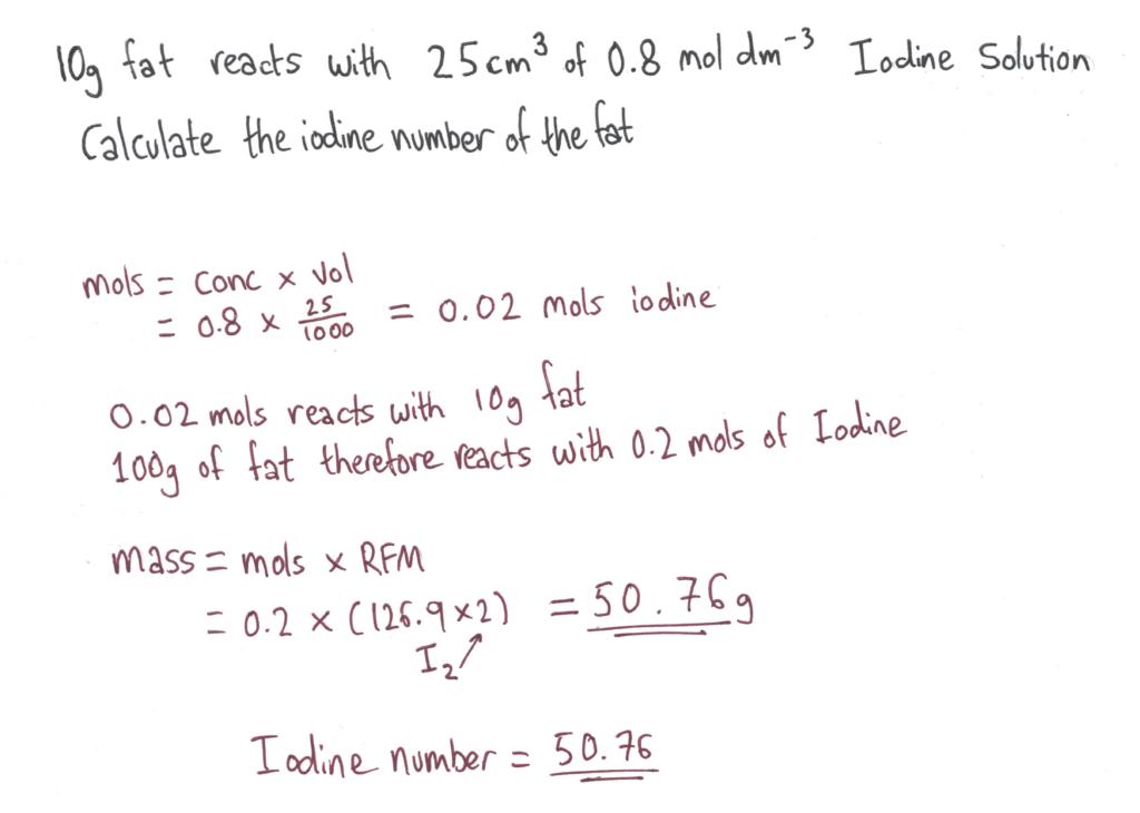 Iodine number calc