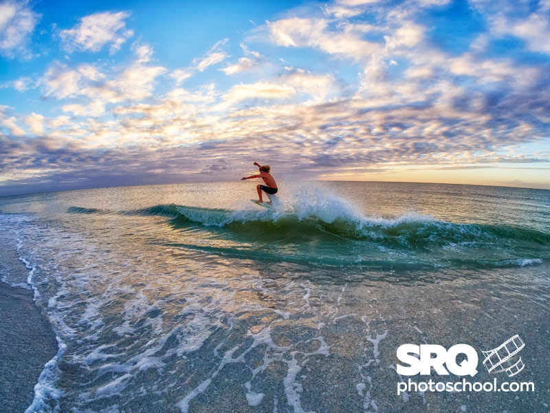 In this image I wanted to really highlight the sky and vastness of the Gulf as seen from Siesta Key for a skim board manufacturer and the Samyang fisheye was the perfect tool.