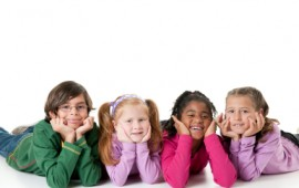 Group of happy elementary kids - child safety.