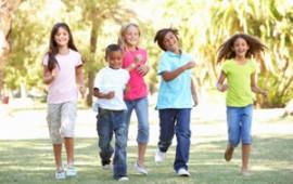 Group of kids, running for exercise
